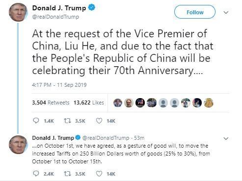 ترامپ: اعمال تعرفه بر کالا های چینی را دو هفته به تعویق انداختم