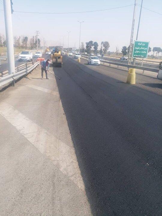 پخش 300 تن آسفالت برای بهسازی بزرگراه شهید رسولی در منطقه 19
